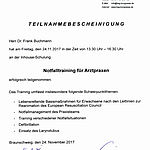 Notfalltraining: Frank Buchmann (2017-11-24)