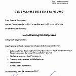 Notfalltraining: Sabine Buchmann (2017-11-24)